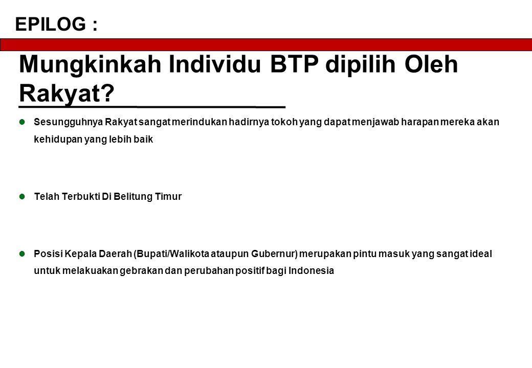 Mungkinkah Individu BTP dipilih Oleh Rakyat.