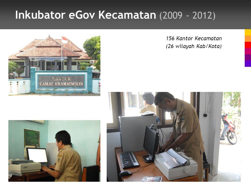 Inkubator eGov Kecamatan (2009 - 2012) 156 Kantor Kecamatan (26 wilayah Kab/Kota)