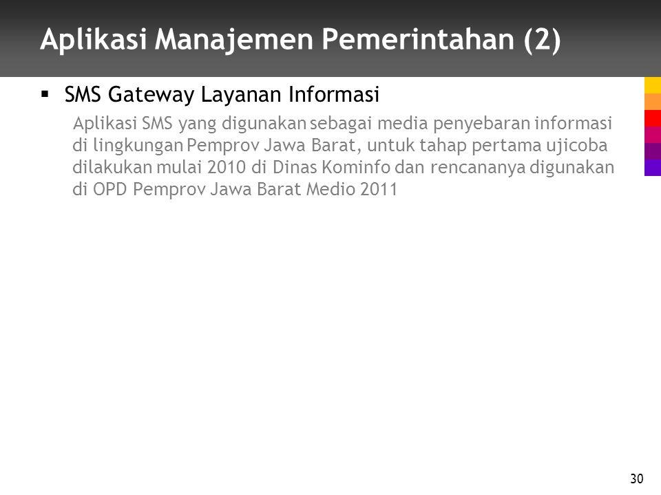 Aplikasi Manajemen Pemerintahan (2)  SMS Gateway Layanan Informasi Aplikasi SMS yang digunakan sebagai media penyebaran informasi di lingkungan Pemprov Jawa Barat, untuk tahap pertama ujicoba dilakukan mulai 2010 di Dinas Kominfo dan rencananya digunakan di OPD Pemprov Jawa Barat Medio 2011 30