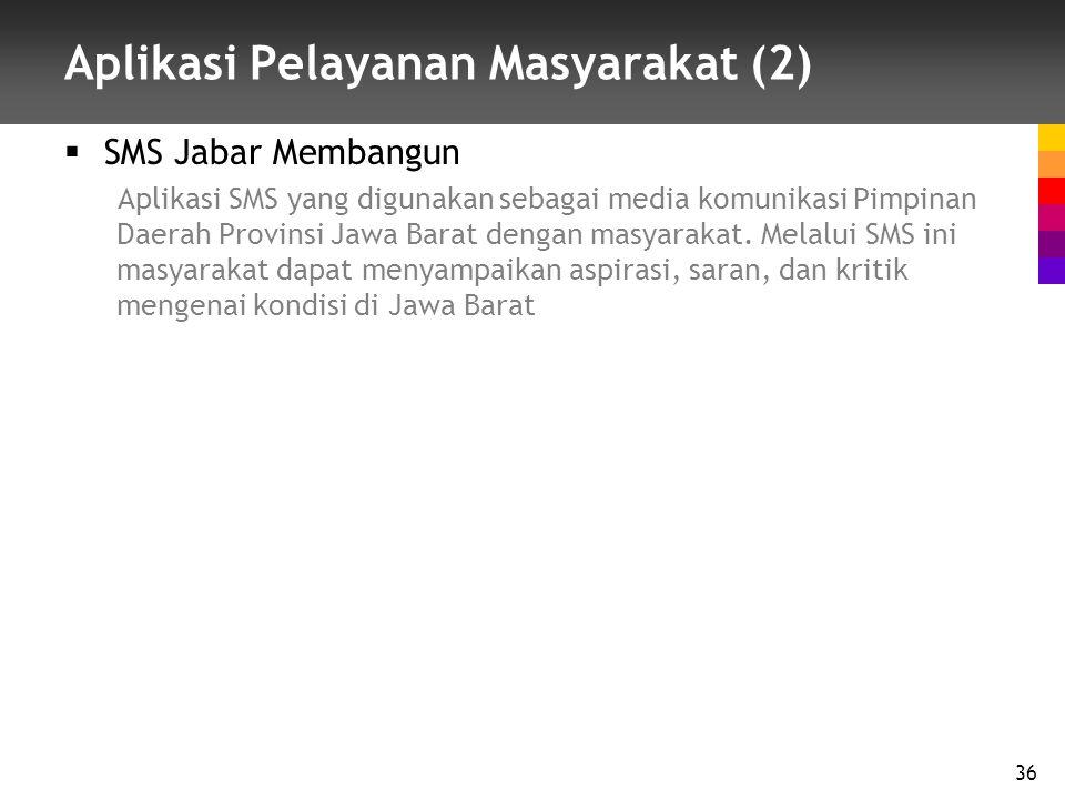 Aplikasi Pelayanan Masyarakat (2)  SMS Jabar Membangun Aplikasi SMS yang digunakan sebagai media komunikasi Pimpinan Daerah Provinsi Jawa Barat dengan masyarakat.
