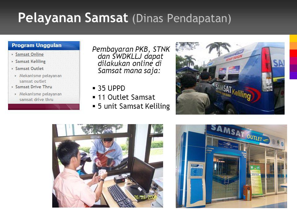 Pelayanan Samsat (Dinas Pendapatan) Pembayaran PKB, STNK dan SWDKLLJ dapat dilakukan online di Samsat mana saja:  35 UPPD  11 Outlet Samsat  5 unit Samsat Keliling