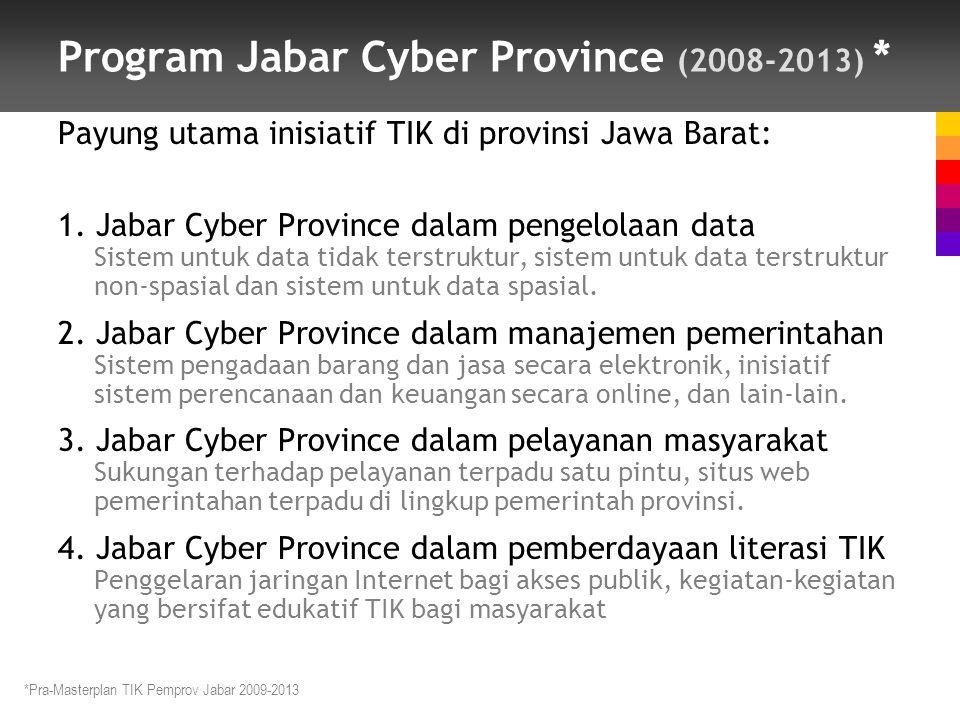Program Jabar Cyber Province (2008-2013) * Payung utama inisiatif TIK di provinsi Jawa Barat: 1.