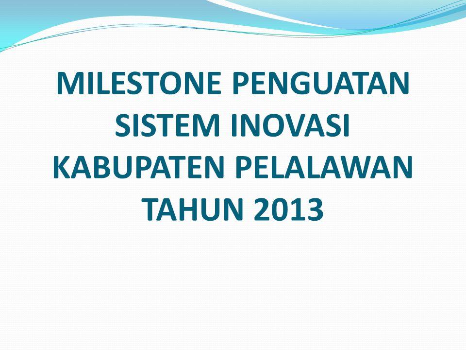 MILESTONE PENGUATAN SISTEM INOVASI KABUPATEN PELALAWAN TAHUN 2013