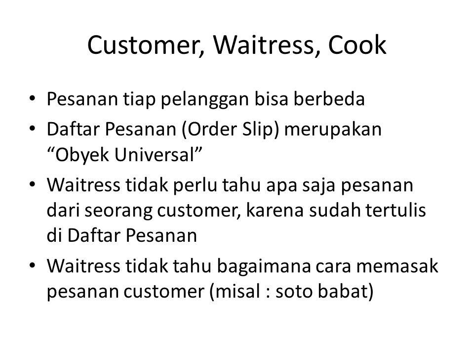 Customer, Waitress, Cook • Cook (Koki) tidak perlu tahu siapa yang memesan makanan soto babat • Cook tahu bagaimana cara memasak soto babat • Tidak ada keterikatan antara Waitress dan Cook (de-coupling) • (kecuali kalau mereka pacaran  )