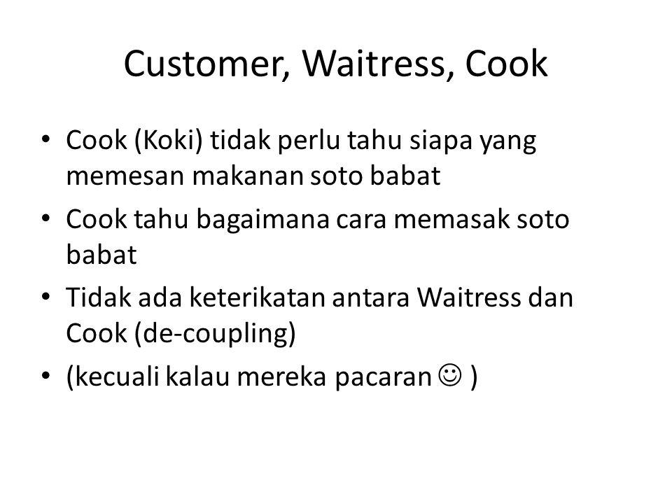 Customer, Waitress, Cook • Cook (Koki) tidak perlu tahu siapa yang memesan makanan soto babat • Cook tahu bagaimana cara memasak soto babat • Tidak ad