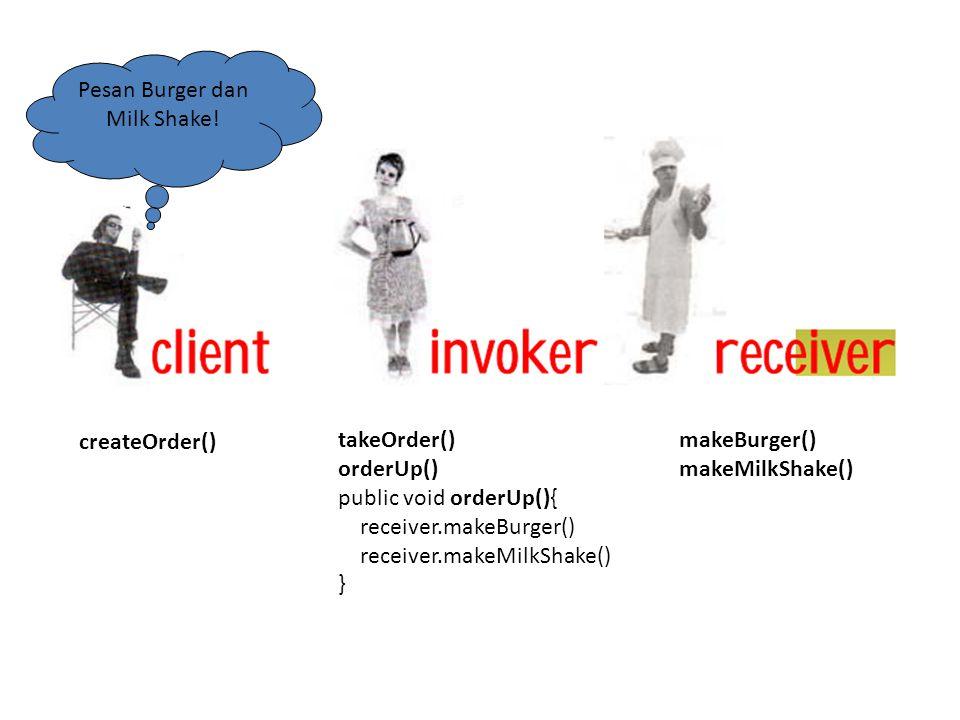 createOrder() takeOrder() orderUp() public void orderUp(){ receiver.makeBurger() receiver.makeMilkShake() } Pesan Burger dan Milk Shake! makeBurger()