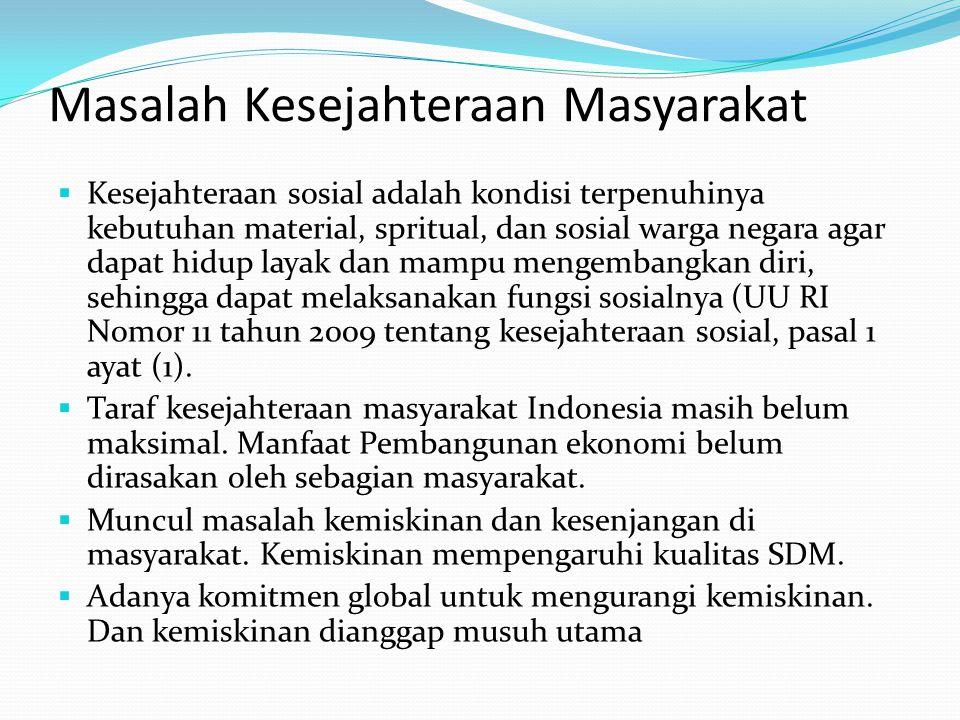 Masalah Kesejahteraan Masyarakat  Kesejahteraan sosial adalah kondisi terpenuhinya kebutuhan material, spritual, dan sosial warga negara agar dapat h