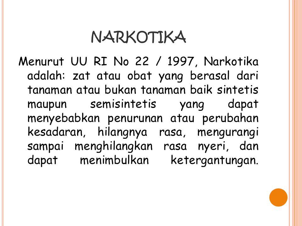 NARKOTIKA Menurut UU RI No 22 / 1997, Narkotika adalah: zat atau obat yang berasal dari tanaman atau bukan tanaman baik sintetis maupun semisintetis y