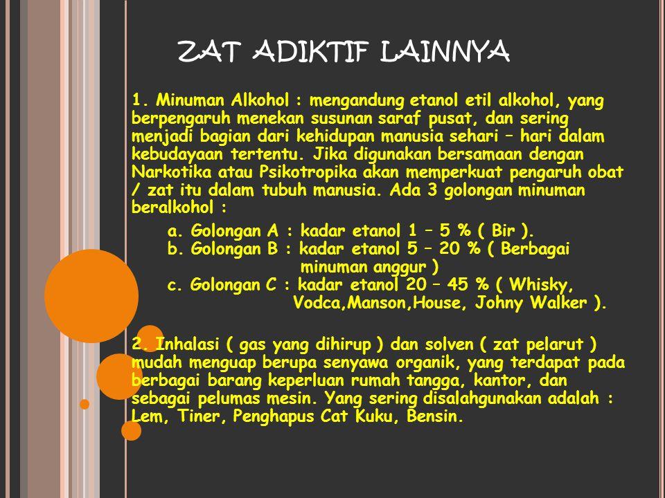 ZAT ADIKTIF LAINNYA 1. Minuman Alkohol : mengandung etanol etil alkohol, yang berpengaruh menekan susunan saraf pusat, dan sering menjadi bagian dari