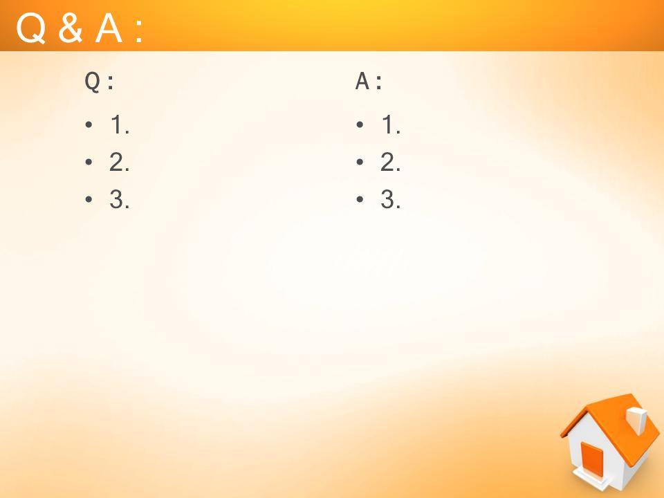 Q & A : •1. •2. •3. •1. •2. •3. Q :A :