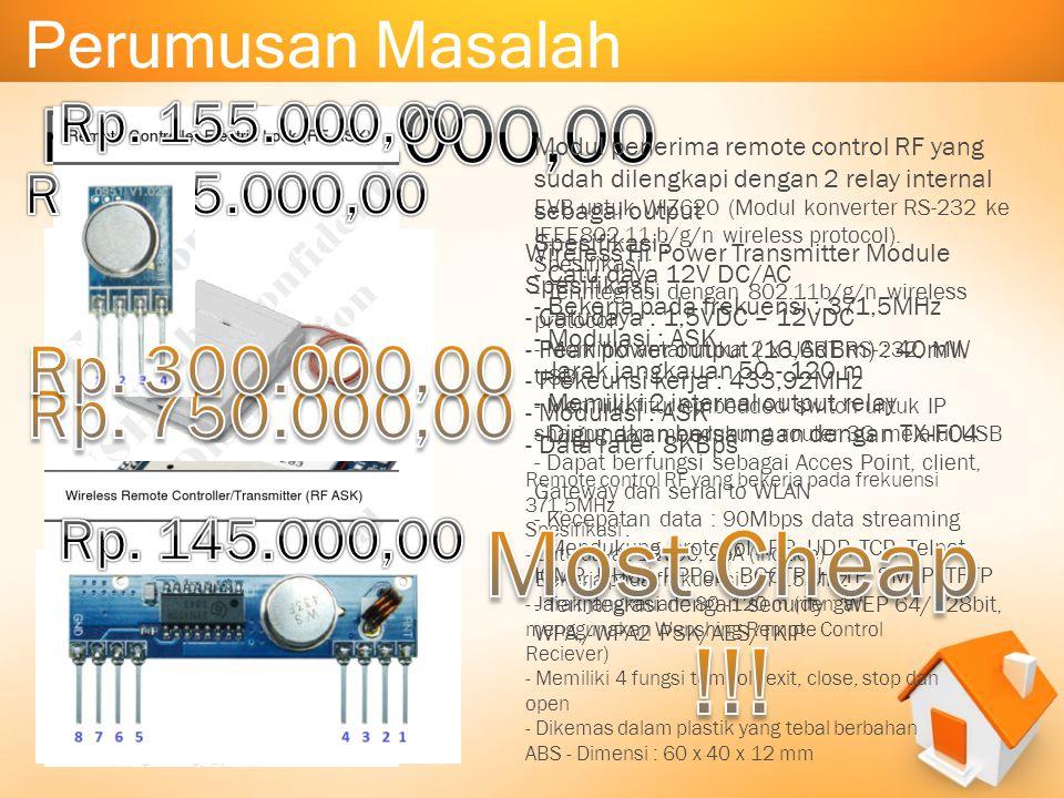 Perumusan Masalah EVB untuk WIZ620 (Modul konverter RS-232 ke IEEE802.11.b/g/n wireless protocol). Spesifikasi : - Terintegrasi dengan 802.11b/g/n wir