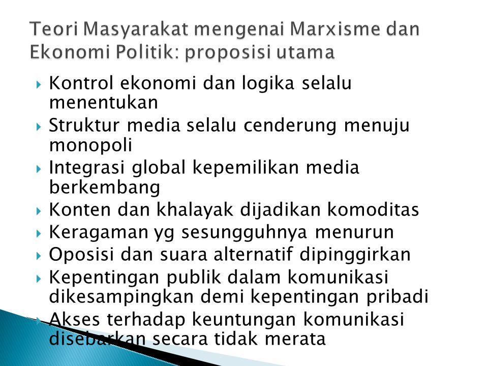  Kontrol ekonomi dan logika selalu menentukan  Struktur media selalu cenderung menuju monopoli  Integrasi global kepemilikan media berkembang  Kon