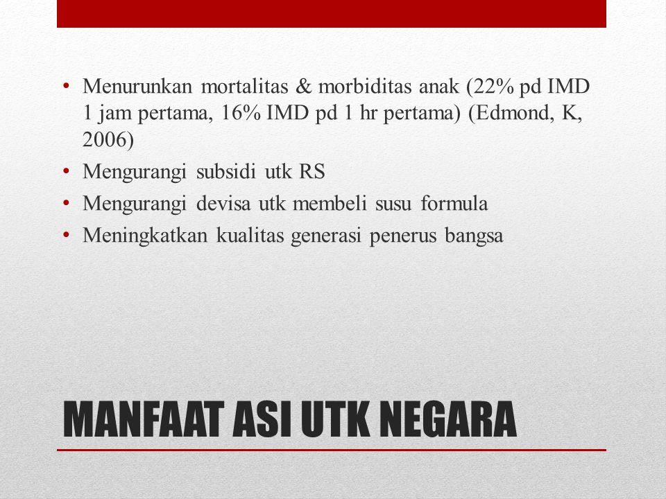 MANFAAT ASI UTK NEGARA • Menurunkan mortalitas & morbiditas anak (22% pd IMD 1 jam pertama, 16% IMD pd 1 hr pertama) (Edmond, K, 2006) • Mengurangi su