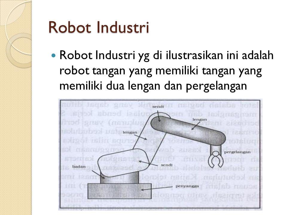 Robot Industri  Robot Industri yg di ilustrasikan ini adalah robot tangan yang memiliki tangan yang memiliki dua lengan dan pergelangan