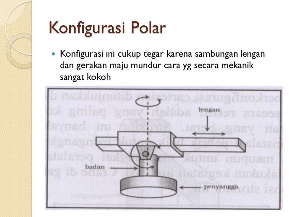Konfigurasi Polar  Konfigurasi ini cukup tegar karena sambungan lengan dan gerakan maju mundur cara yg secara mekanik sangat kokoh