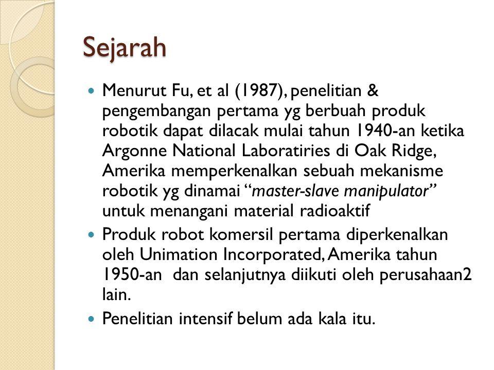 Sejarah  Menurut Fu, et al (1987), penelitian & pengembangan pertama yg berbuah produk robotik dapat dilacak mulai tahun 1940-an ketika Argonne Natio
