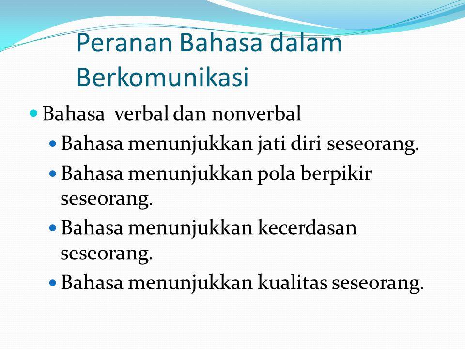Peranan Bahasa dalam Berkomunikasi  Bahasa verbal dan nonverbal  Bahasa menunjukkan jati diri seseorang.  Bahasa menunjukkan pola berpikir seseoran