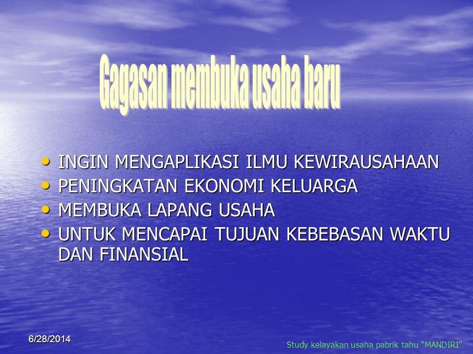 "6/28/2014 Study kelayakan usaha pabrik tahu ""MANDIRI"""