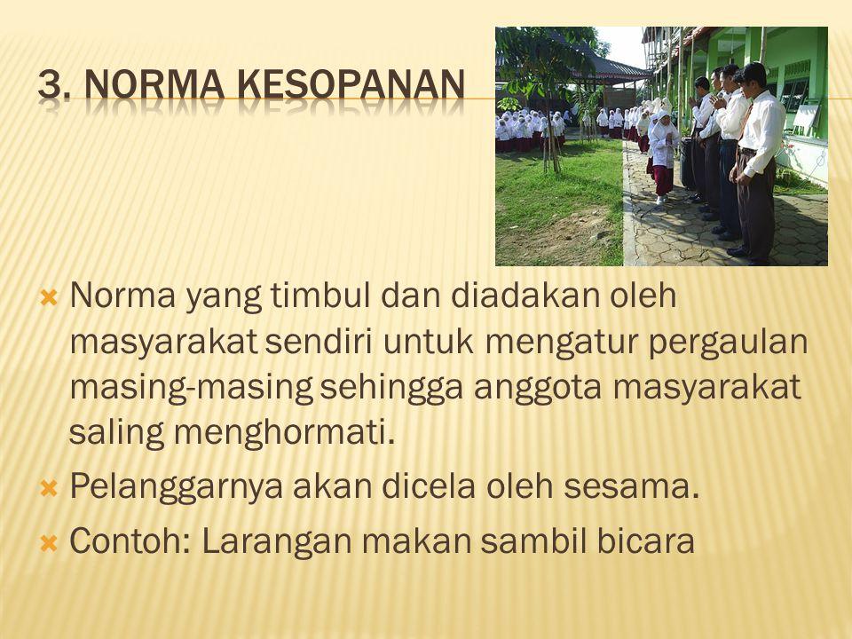  Norma yang timbul dan diadakan oleh masyarakat sendiri untuk mengatur pergaulan masing-masing sehingga anggota masyarakat saling menghormati.  Pela