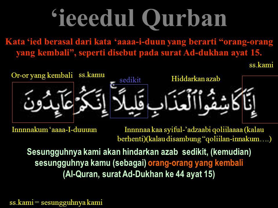 """'ieeedul Qurban Kata 'ied berasal dari kata 'aaaa-i-duun yang berarti """"orang-orang yang kembali"""", seperti disebut pada surat Ad-dukhan ayat 15. Sesung"""