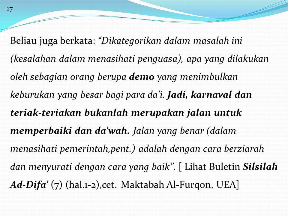 18 Sumber : Buletin Jum'at Al-Atsariyyah edisi 06 Tahun I.