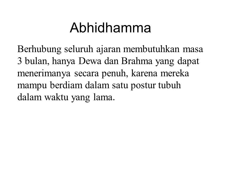 Abhidhamma Berhubung seluruh ajaran membutuhkan masa 3 bulan, hanya Dewa dan Brahma yang dapat menerimanya secara penuh, karena mereka mampu berdiam d