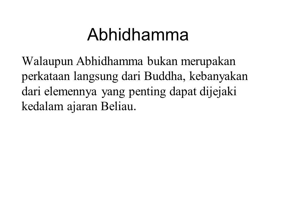 Abhidhamma Walaupun Abhidhamma bukan merupakan perkataan langsung dari Buddha, kebanyakan dari elemennya yang penting dapat dijejaki kedalam ajaran Be