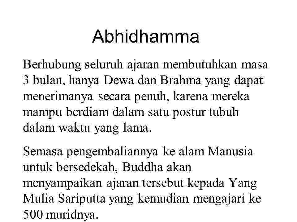 Abhidhamma Berhubung seluruh ajaran membutuhkan masa 3 bulan, hanya Dewa dan Brahma yang dapat menerimanya secara penuh, karena mereka mampu berdiam dalam satu postur tubuh dalam waktu yang lama.