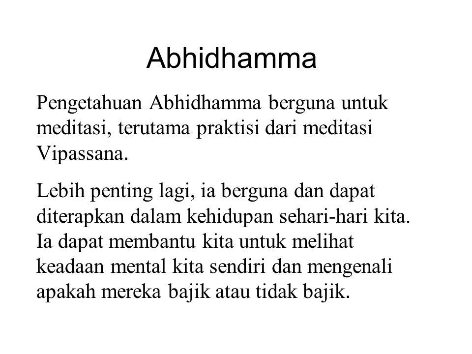 Abhidhamma Pengetahuan Abhidhamma berguna untuk meditasi, terutama praktisi dari meditasi Vipassana. Lebih penting lagi, ia berguna dan dapat diterapk