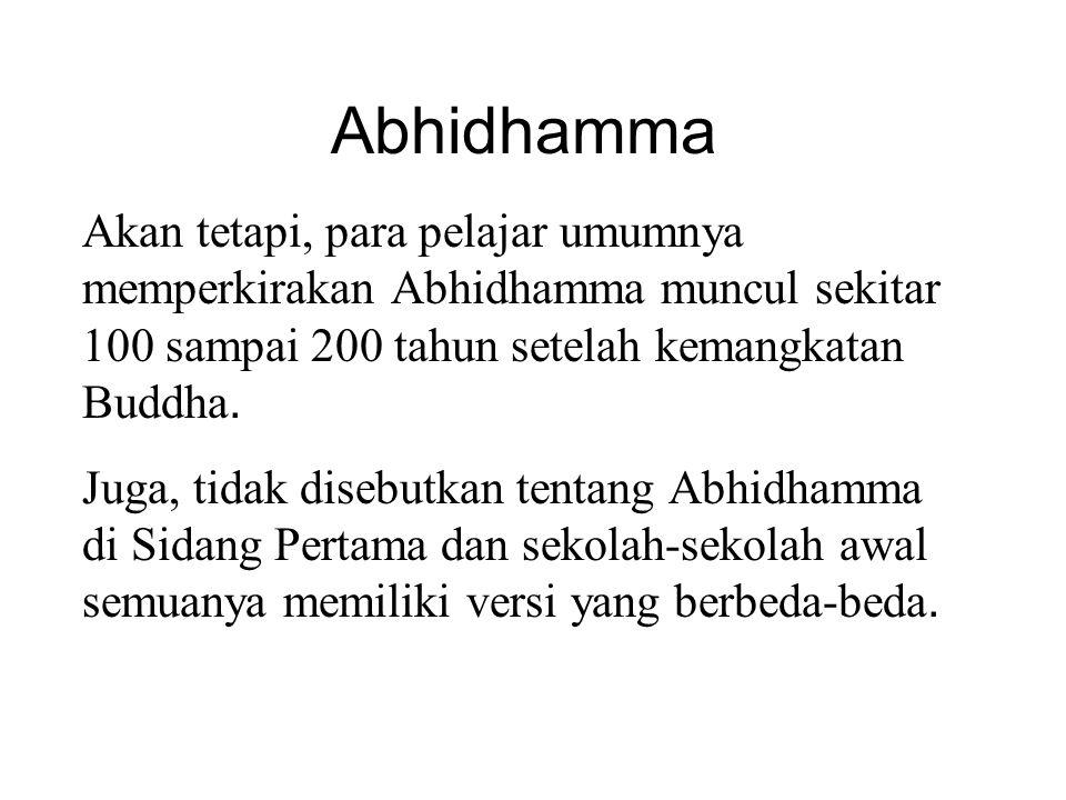Abhidhamma Akan tetapi, para pelajar umumnya memperkirakan Abhidhamma muncul sekitar 100 sampai 200 tahun setelah kemangkatan Buddha. Juga, tidak dise