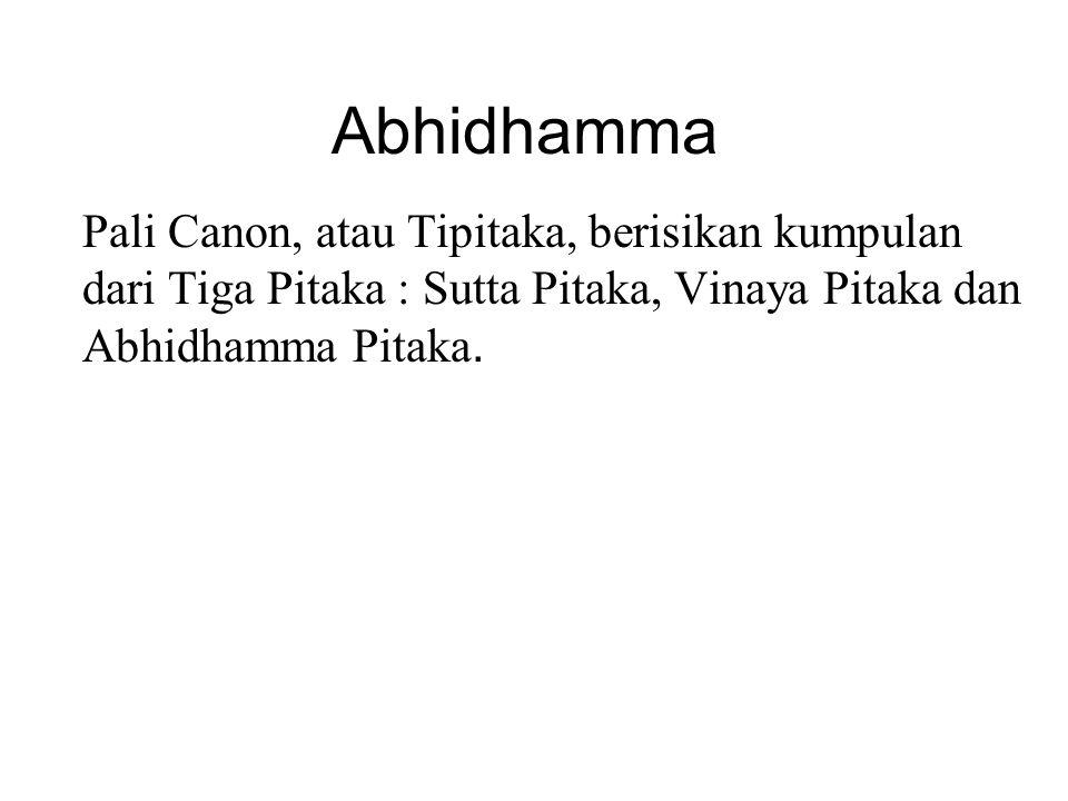 Abhidhamma Pali Canon, atau Tipitaka, berisikan kumpulan dari Tiga Pitaka : Sutta Pitaka, Vinaya Pitaka dan Abhidhamma Pitaka. Although traditionally