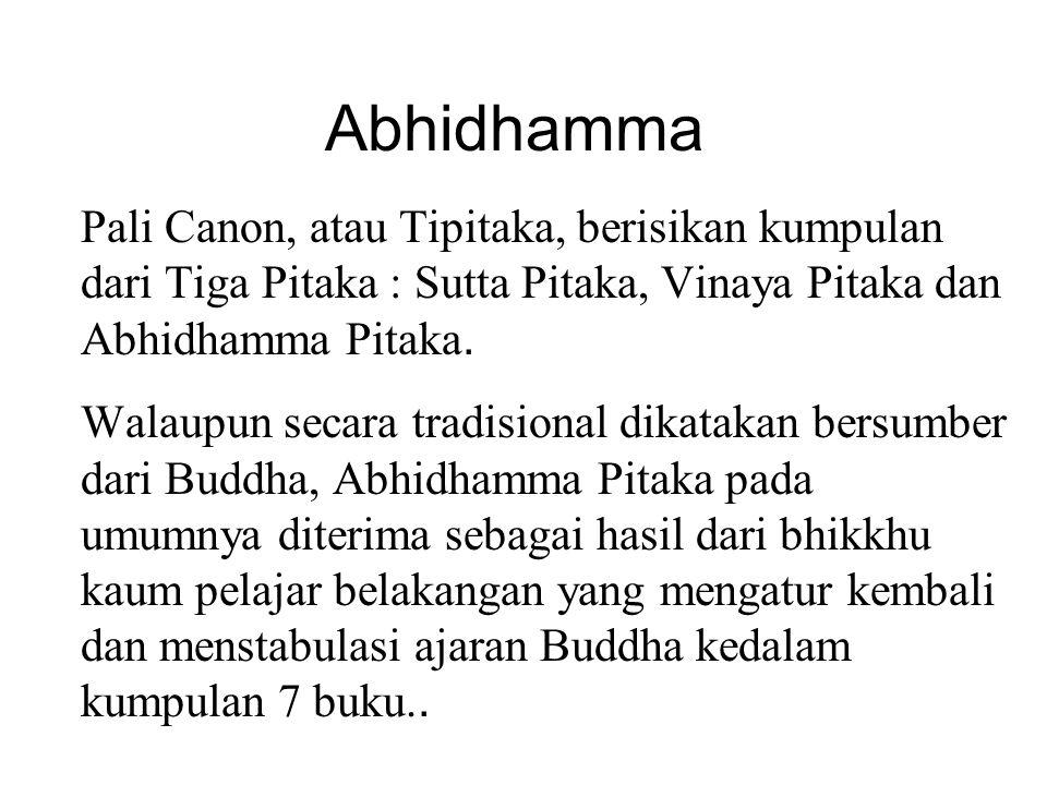 Abhidhamma Pali Canon, atau Tipitaka, berisikan kumpulan dari Tiga Pitaka : Sutta Pitaka, Vinaya Pitaka dan Abhidhamma Pitaka. Walaupun secara tradisi