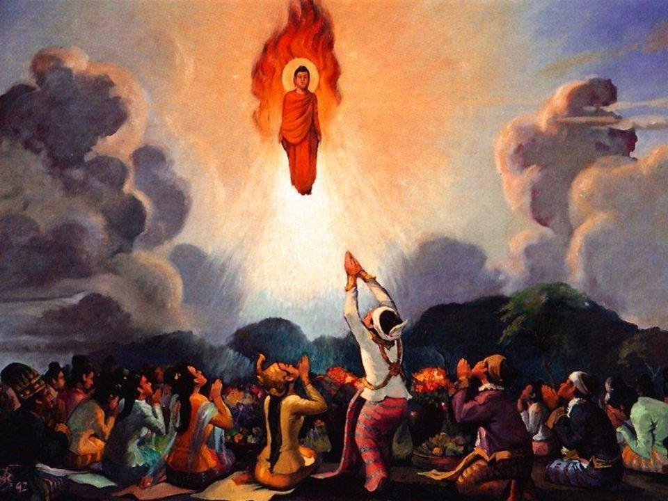 Abhidhamma Menurut tradisi dalam Kitab Komentar pada Abhidhamma, Buddha naik ke surga Tavatimsa dengan tiga langkah besar setelah melakukan keajaiban ganda.