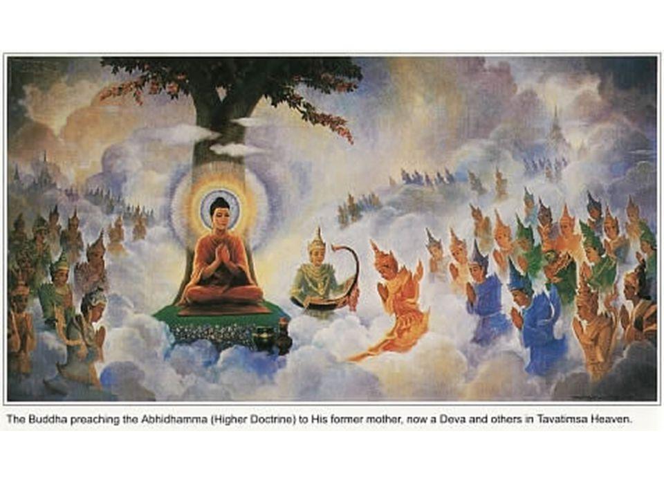 Abhidhamma Selama 3 bulan membabarkan Dhamma, Buddha akan turun ke bumi untuk meminta sedekah, dengan menciptakan kesan dari dirinya di Tavatimsa untuk melanjuti pembabaran.