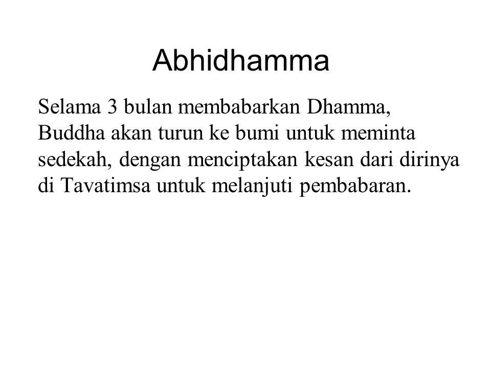 Abhidhamma Selama 3 bulan membabarkan Dhamma, Buddha akan turun ke bumi untuk meminta sedekah, dengan menciptakan kesan dari dirinya di Tavatimsa untu
