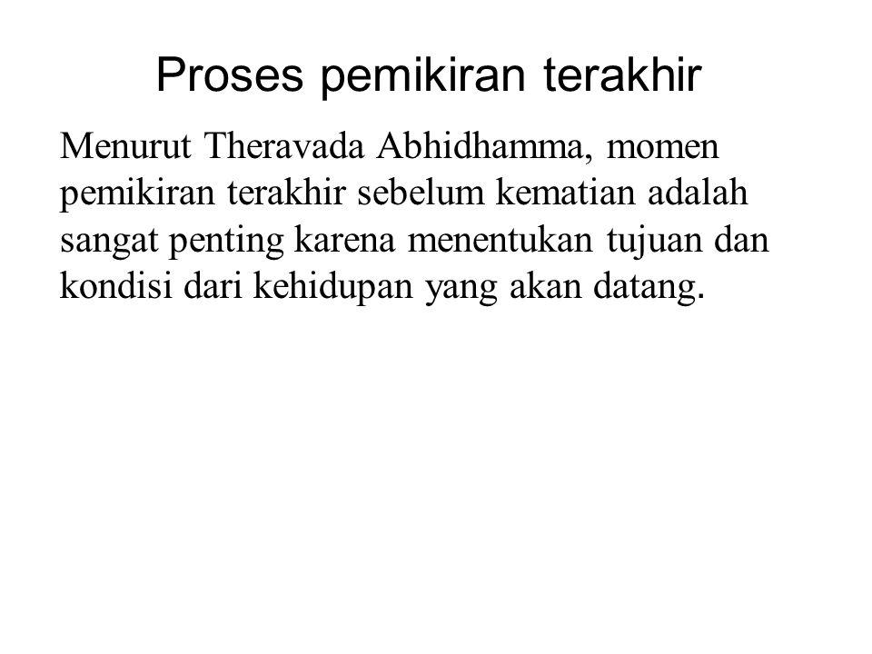 Proses pemikiran terakhir Menurut Theravada Abhidhamma, momen pemikiran terakhir sebelum kematian adalah sangat penting karena menentukan tujuan dan k