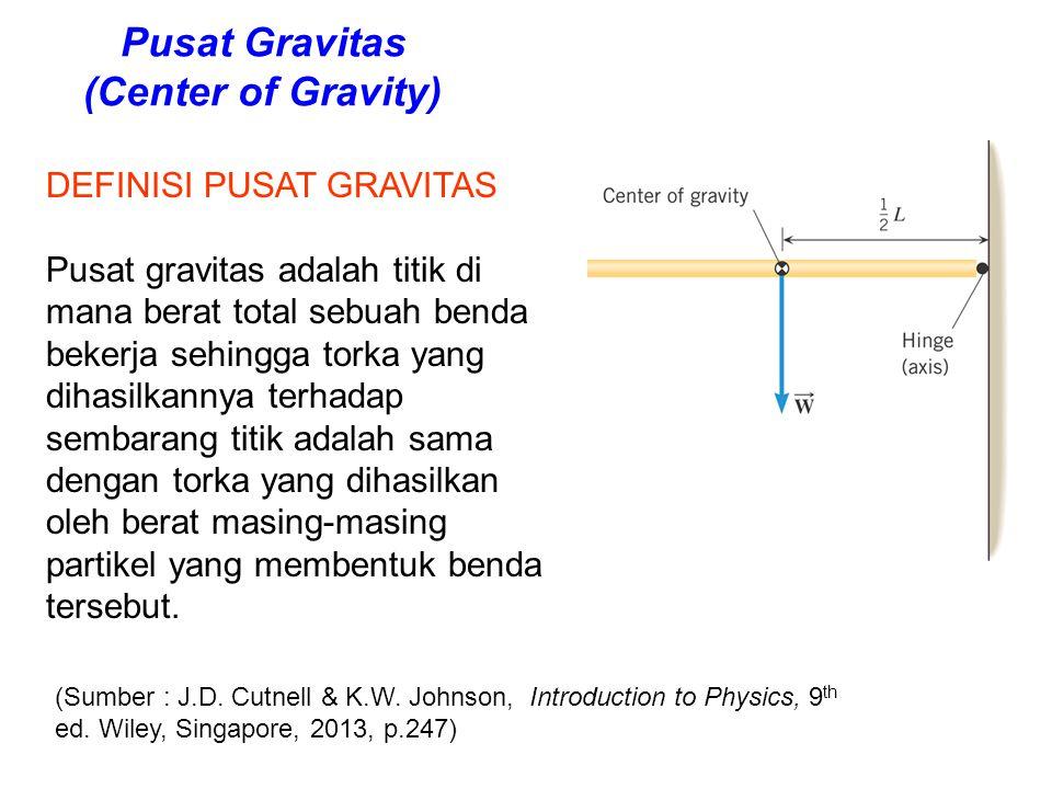 Pusat Gravitas (Center of Gravity) DEFINISI PUSAT GRAVITAS Pusat gravitas adalah titik di mana berat total sebuah benda bekerja sehingga torka yang di