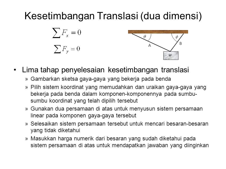 Kesetimbangan Translasi (dua dimensi) •Lima tahap penyelesaian kesetimbangan translasi »Gambarkan sketsa gaya-gaya yang bekerja pada benda »Pilih sist
