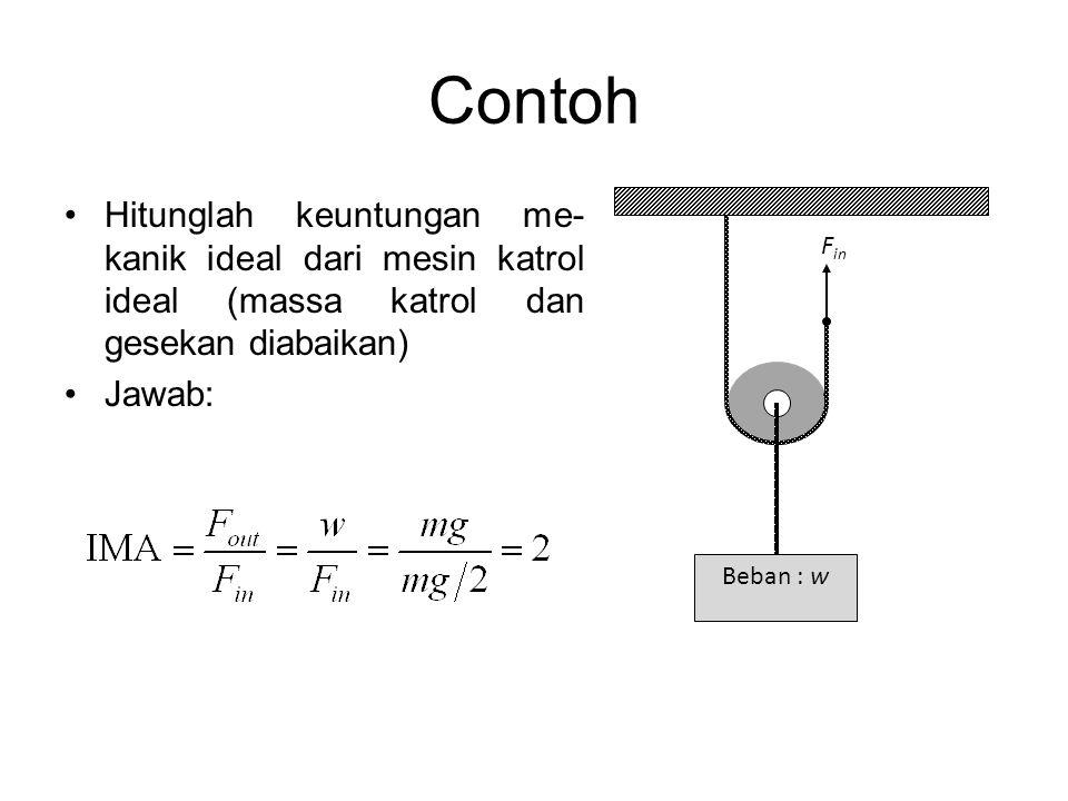 Contoh •Hitunglah keuntungan me- kanik ideal dari mesin katrol ideal (massa katrol dan gesekan diabaikan) •Jawab: Beban : w F in