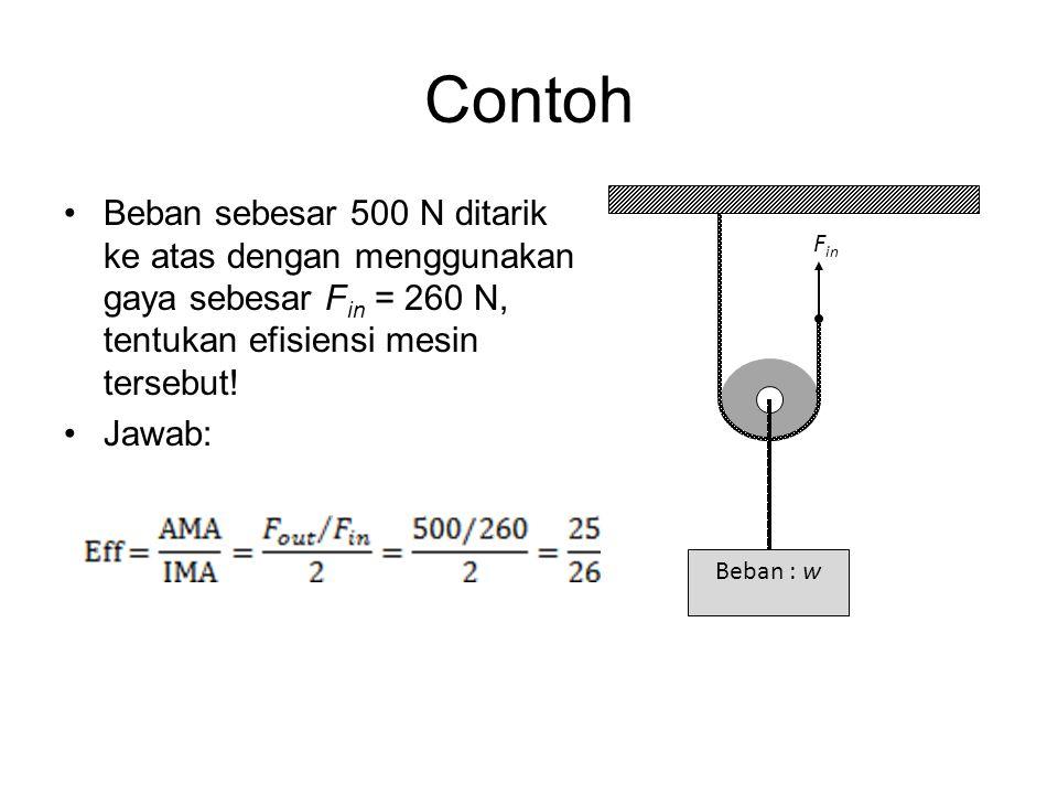 Contoh •Beban sebesar 500 N ditarik ke atas dengan menggunakan gaya sebesar F in = 260 N, tentukan efisiensi mesin tersebut! •Jawab: Beban : w F in