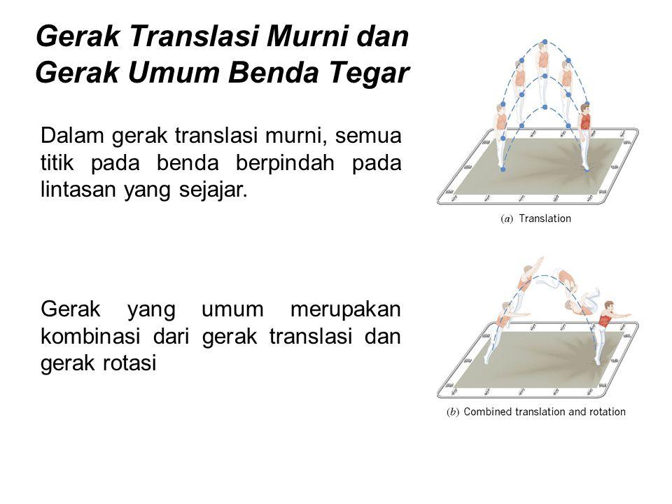 Gerak Translasi Murni dan Gerak Umum Benda Tegar Dalam gerak translasi murni, semua titik pada benda berpindah pada lintasan yang sejajar. Gerak yang