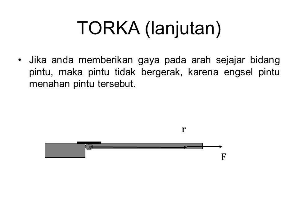 TORKA (lanjutan) •Jika anda memberikan gaya pada arah sejajar bidang pintu, maka pintu tidak bergerak, karena engsel pintu menahan pintu tersebut. F r