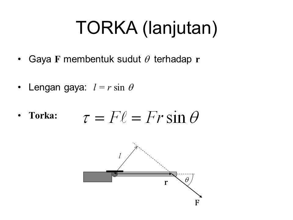 TORKA (lanjutan) •Gaya F membentuk sudut  terhadap r •Lengan gaya: l = r sin  •Torka: F r  l