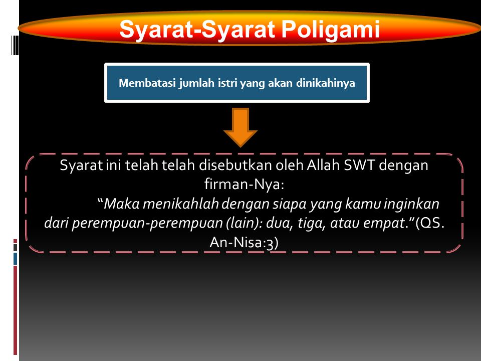 "Syarat-Syarat Poligami Membatasi jumlah istri yang akan dinikahinya Syarat ini telah telah disebutkan oleh Allah SWT dengan firman-Nya: ""Maka menikahl"