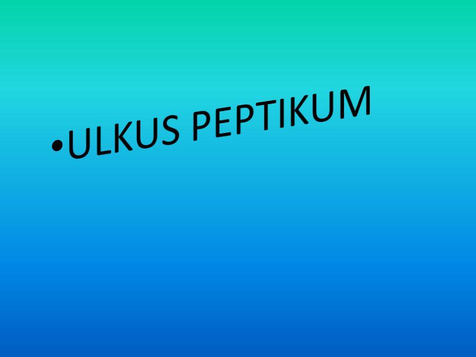 PENGERTIAN • Ulkus peptikum merupakan robeknya permukaan epital esopagus, lambung atau deodenum kadang disebabkan oleh aksi sekresi gaster (asam tau peksin).