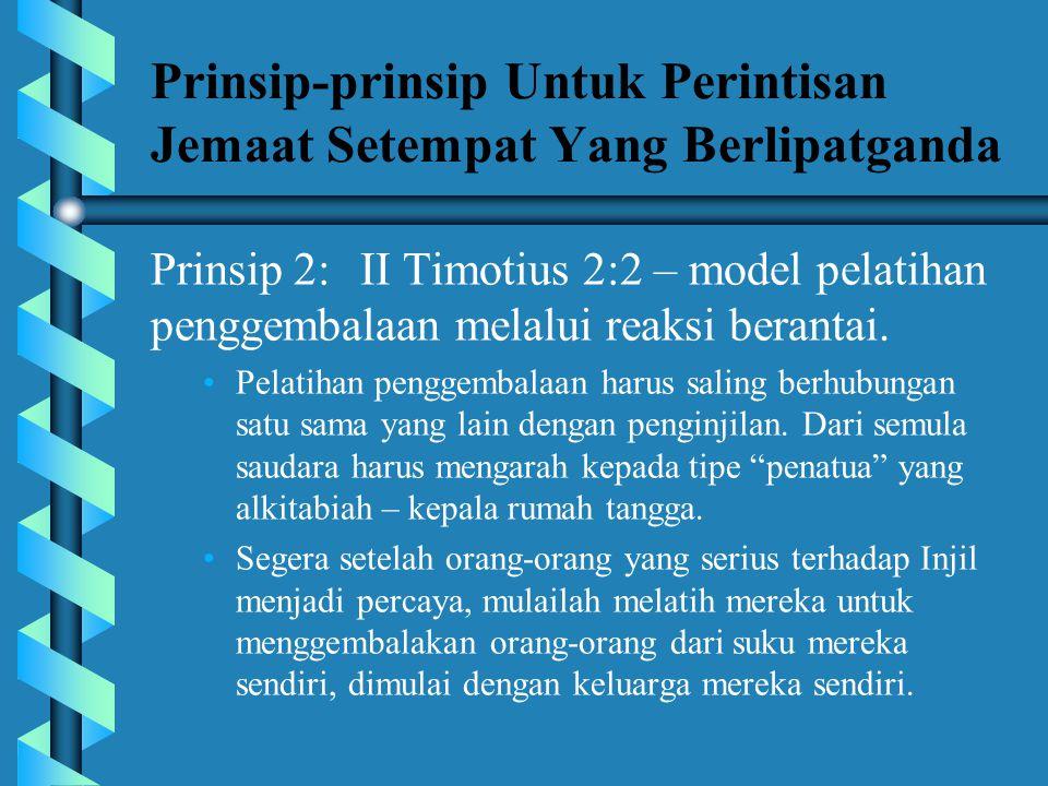 Prinsip-prinsip Untuk Perintisan Jemaat Setempat Yang Berlipatganda Prinsip 1:Penginjilan yang berinkarnasi • •Konfirmasikan pertobatan secepat mungki