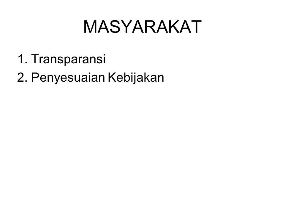 MASYARAKAT 1. Transparansi 2. Penyesuaian Kebijakan