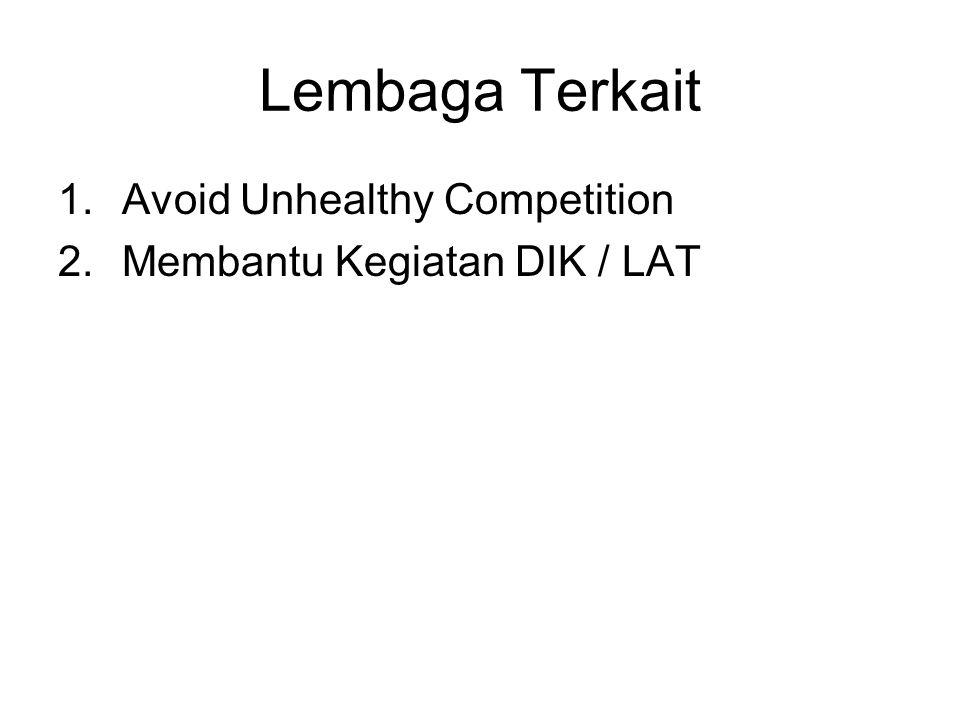 Lembaga Terkait 1.Avoid Unhealthy Competition 2.Membantu Kegiatan DIK / LAT