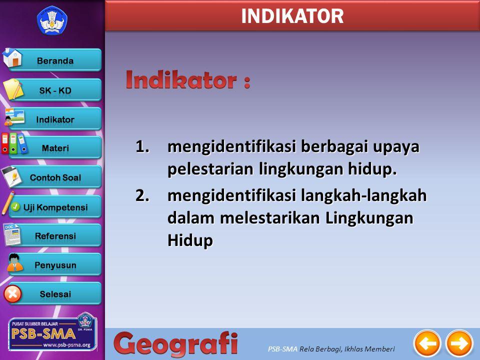 PSB-SMA Rela Berbagi, Ikhlas Memberi 3. Menganalisis pemanfaatan dan pelestarian lingkungan hidup SK - KD 3.2. Menganalisis pelestarian lingkungan hid