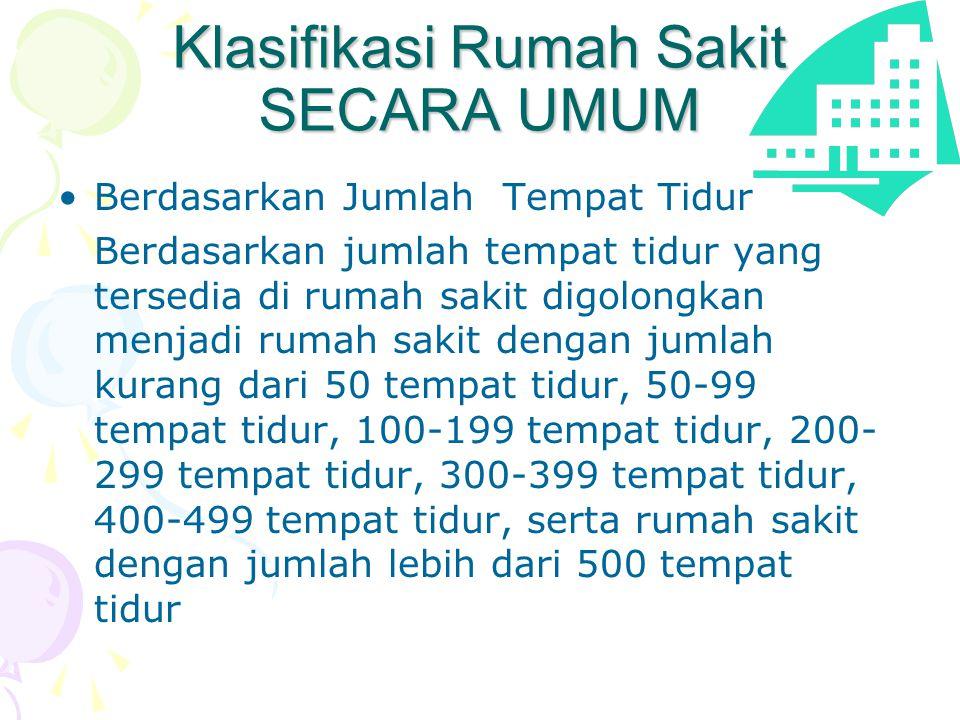 Klasifikasi Rumah Sakit SECARA UMUM •Berdasarkan Jumlah Tempat Tidur Berdasarkan jumlah tempat tidur yang tersedia di rumah sakit digolongkan menjadi